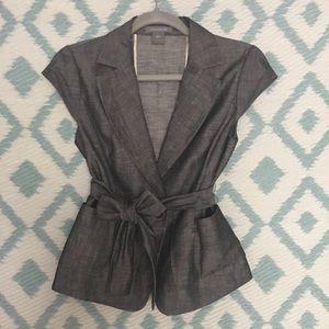 Ann Taylor Gray Wool Skirt Suit Set Size 0